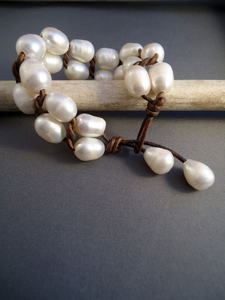 Leather pearls Cuff by iseadesigns on Etsy. $54.00, via Etsy.