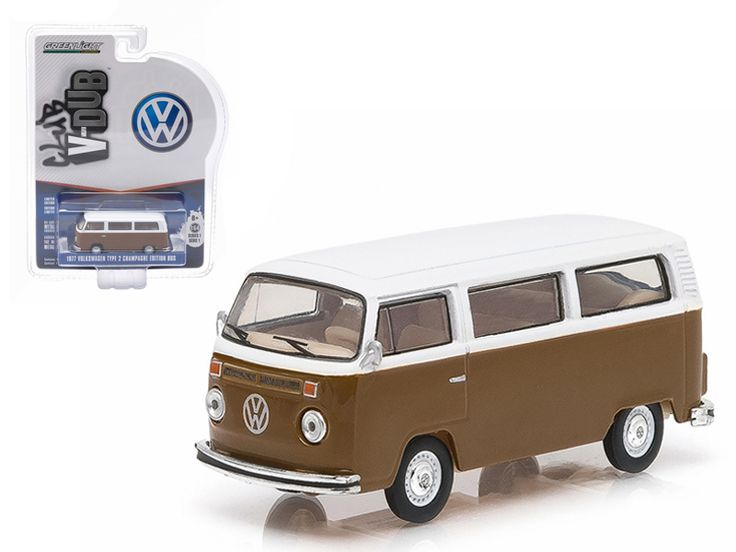 1977 Volkswagen Type 2 Bus Champagne Edition Agate Brown with Atlas White Series 1 Club V-Dub 1/64 Diecast Model Car by Greenlight - Brand new 1:64 scale car model of 1977 Volkswagen Type 2 Bus Champagne Edition Agate Brown Atlas with White Series 1 Club V-Dub die cast model car by Greenlight. Limited Edition. Has Rubber Tires. Comes in a blister pack. Detailed Interior, Exterior. Metal Body and Chassis. Officially Licensed Product. Dimensions Approximately L-2 1/2 Inches Long.-Weight: 1…