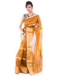 Buy MUSTARD hand woven cotton saree with blouse hand-woven-saree online