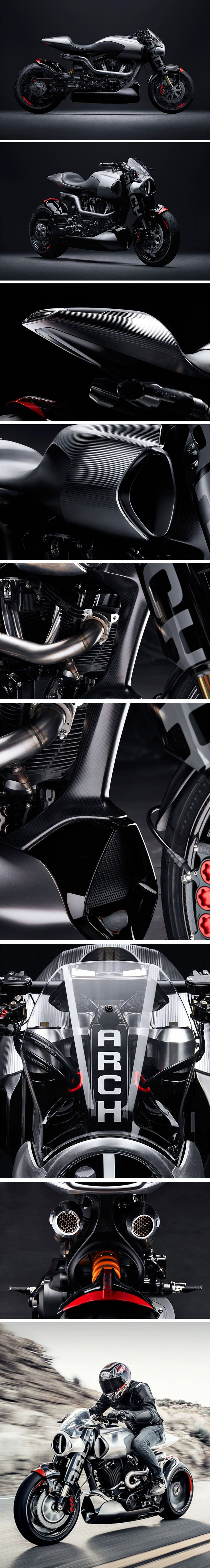 The Method 143 is the first concept production motorcycle featuring a carbon fiber mono-cell chassis. It's hard not to admire the beautifully detailed craftsmanship of the bodywork here – the fine leather, carbon fiber, and artfully programmed CNC machined aluminum is nothing short of flawless and loudly showcases the love that ARCH Motorcycle has for two-wheelers.