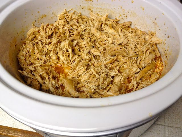 """""""Mexican Shredded Chicken in a Crock Pot"""" and make tacos, taquitos, quesadillas, enchiladas, salads and my favorite tostadas for a crowd or freeze in smaller portions for easier week night meals. This recipe is South Beach Phase 1 friendly"""
