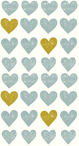 This is a good example of pattern because there is a distinct way the hearts repeat. its every other row, every three hearts and then there is a green heart.