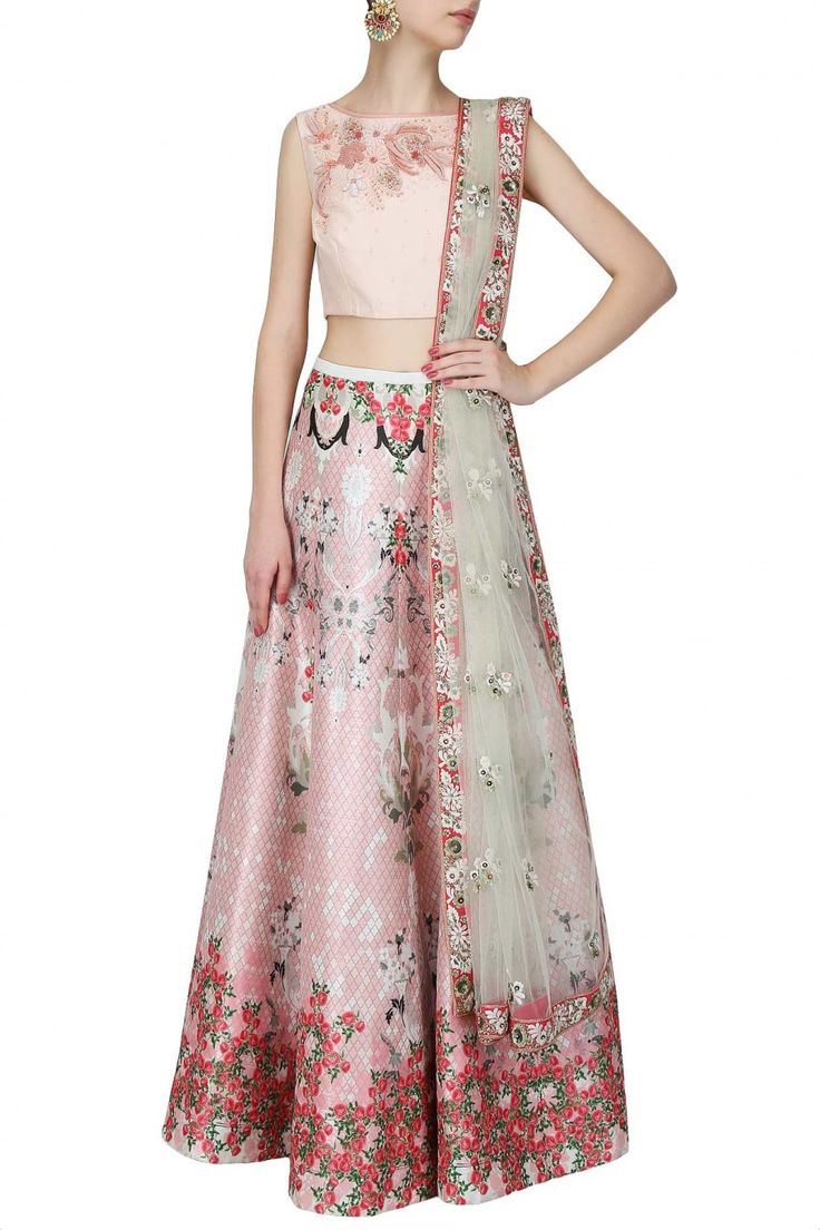 Varun Bahl - Pink floral thread and beads embroidered crop top and floral printed lehenga set
