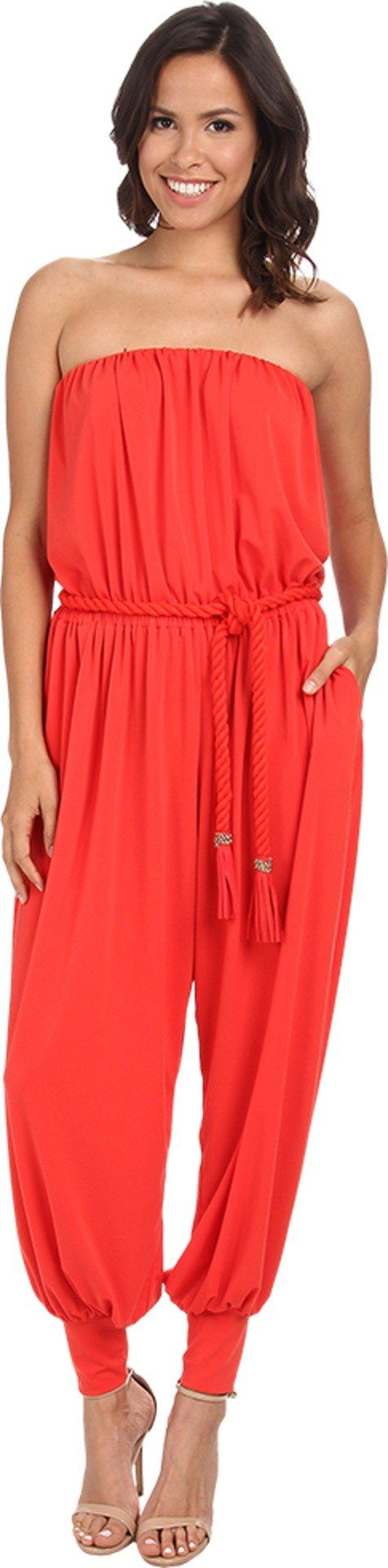 Rachel Zoe Women's Josephine Jumpsuit Red Orange Jumpsuit 2. Draped jersey jumpsuit in a vibrant solid hue. Strapless elastic neckline. Elastic waist defines your figure. Rope tie with tassel trim ties the waist. Dual hand pockets. Harem-style pants with wide elastic cuffs for an elevated style. 95% polyester, 5% spandex. Dry clean only.