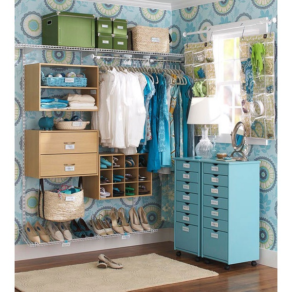Smart Storage for a Walk-In Closet ❤ liked on Polyvore