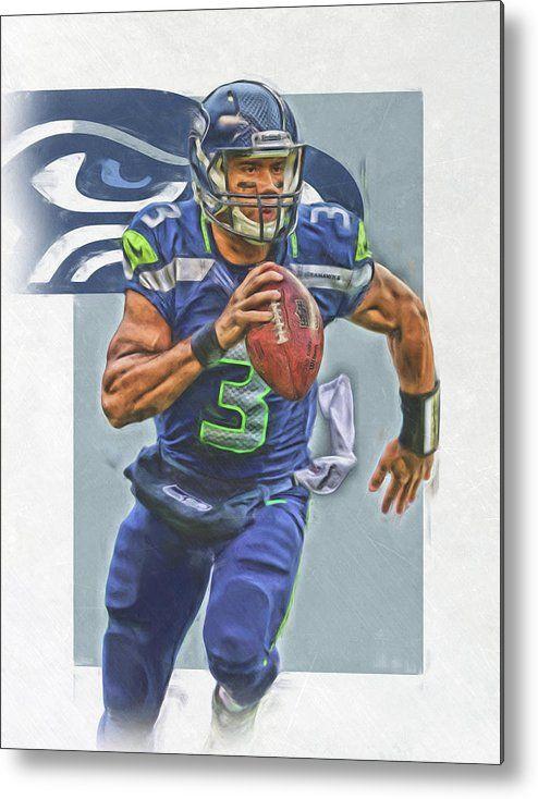 Russell Wilson Metal Print featuring the mixed media Russell Wilson Seattle Seahawks Oil Art by Joe Hamilton