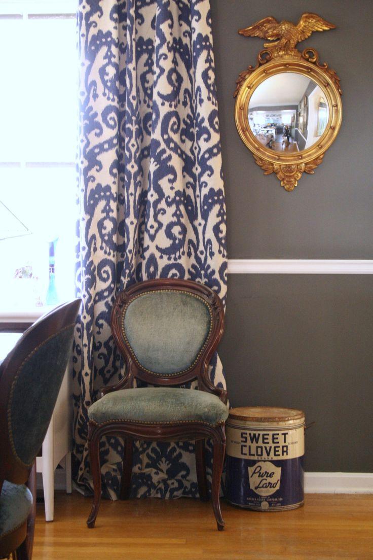 Grayson silver gray jacquard fabric cloth bathroom bath shower curtain - Blue Velvet French Dining Chairs