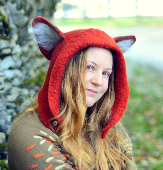 Fox Hat. Fox Ear Hood. Fantasy Hat. Cosplay Hat. LARP. Holiday Gifts for Him or Her.