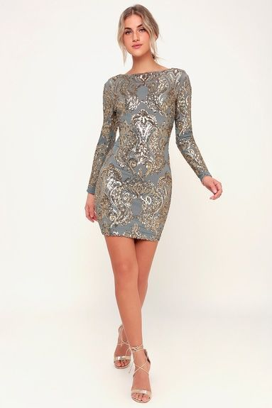 506c7bca443f LOLA LIGHT BLUE AND GOLD SEQUIN LONG SLEEVE BODYCON DRESS | Metallic ...