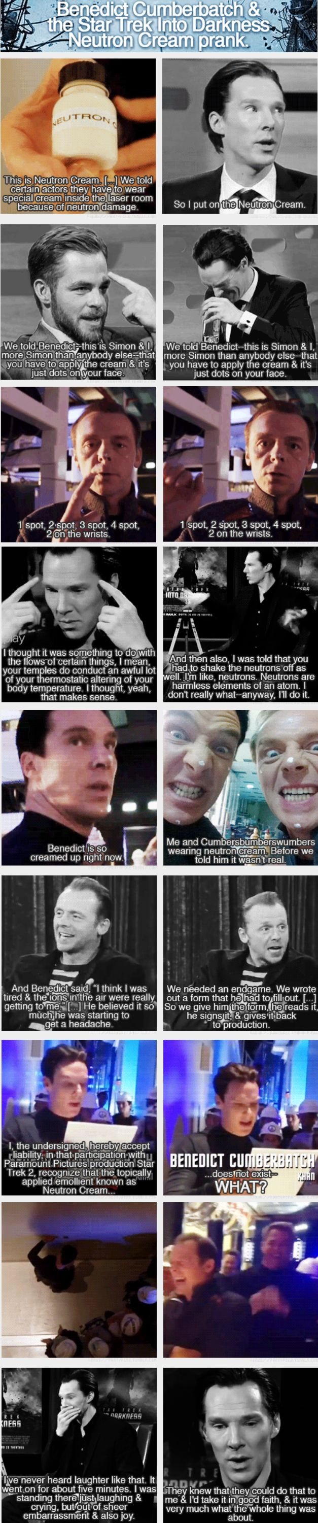 I will, pretty much, always pin anything regarding this prank. It's just that good!!! oh Benedict Cumberbatch