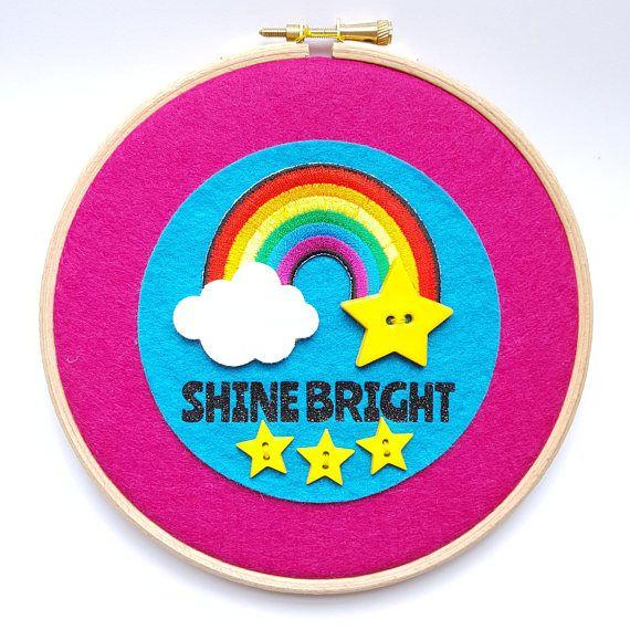 Rainbow Wall Hanging - Nursery Decoration - Embroidery Hoop Wall Hanging - Shine Bright Rainbow Wall Art