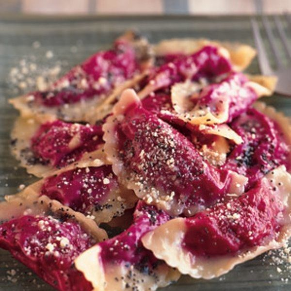 Few stuffed pastas are as pretty as these traditional ravioli from Veneto. The rich, sweet filling of roasted beets is complemented by the unique flavor of tiny black poppy seeds. If you don't have time to make fresh pasta, use purchased wonton wrappers.