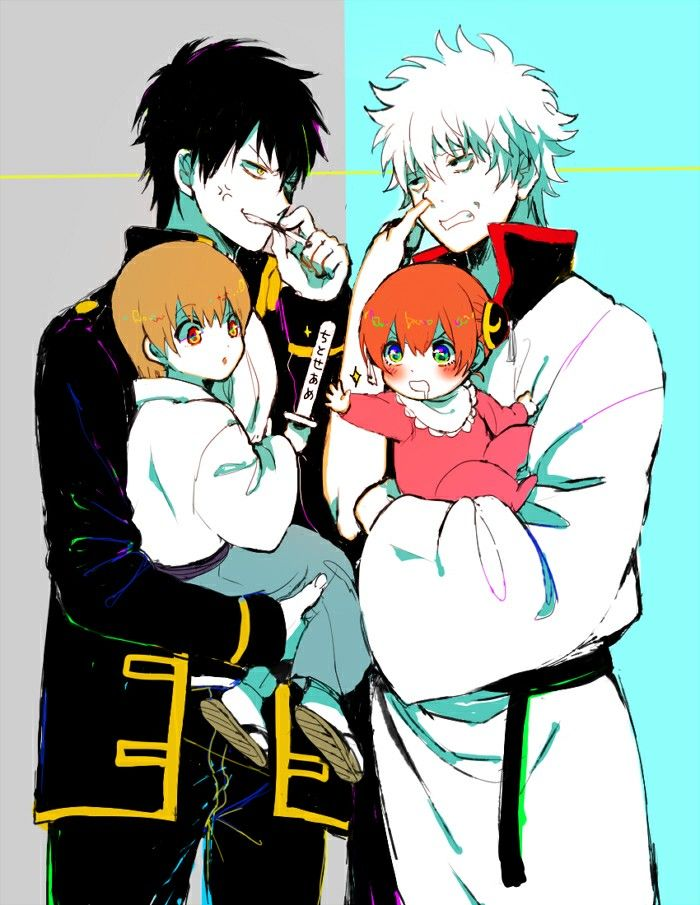 Hijkata and Sougo with Gintoki and Kagura. Gintama