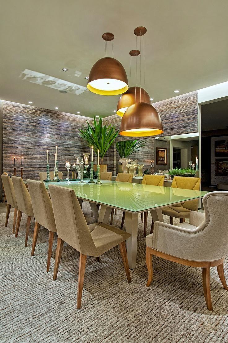 Lustres na cor cobre para sala de jantar