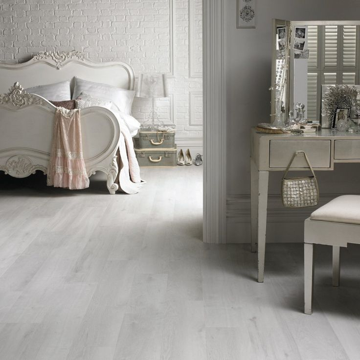 White Wood Floor Tile Design