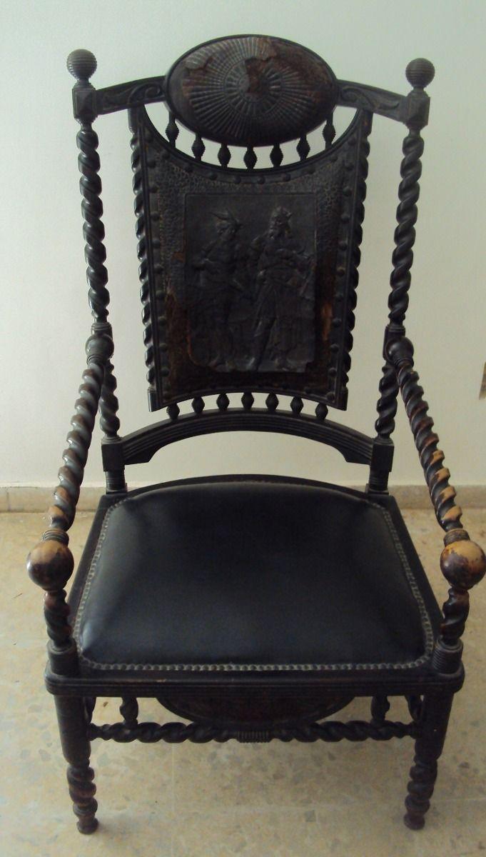 Cadeira Antiga Pirogravura Couro Torneada Anos 30 Madeira - R$ 1.500,00 no MercadoLivre