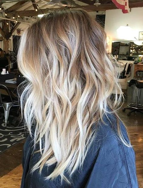 Brunette to blonde ombre balayage hairstyle for medium length hair -