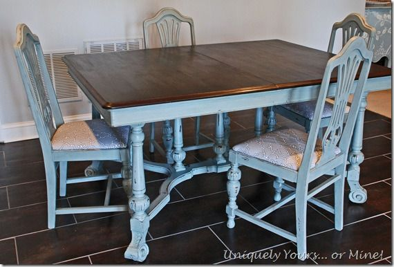 Vintage Dining Table And Chair Set Painted In CeCe Caldwell 39 S Smoky Mount