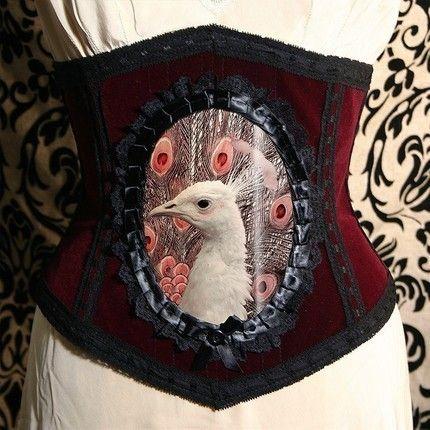 albino peacock corset