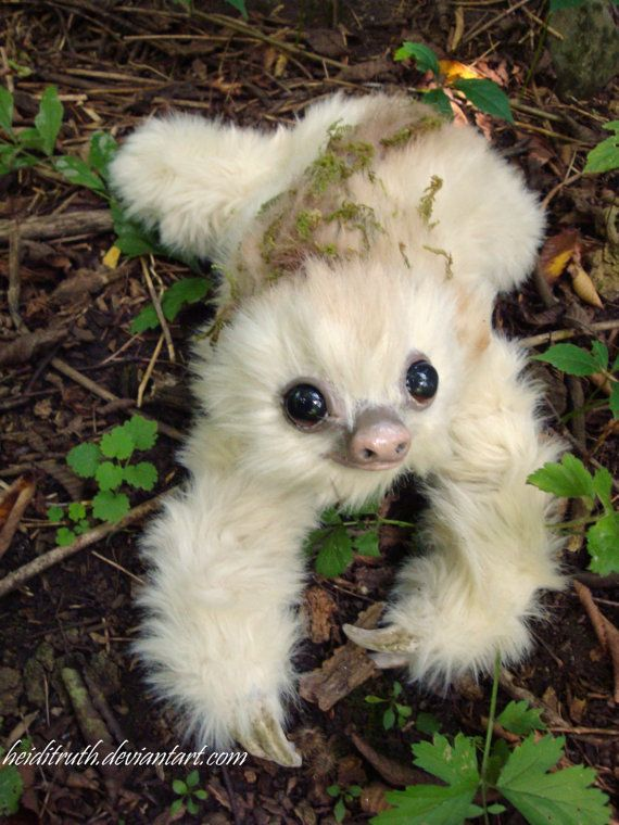 SAMPLE WORK Baby Moss Sloth by RikerCreatures on Etsy
