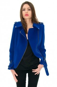 Perfecto cachemire, perfecto bleu, blouson sexy -stefanie-renoma.com - Stefanie Renoma