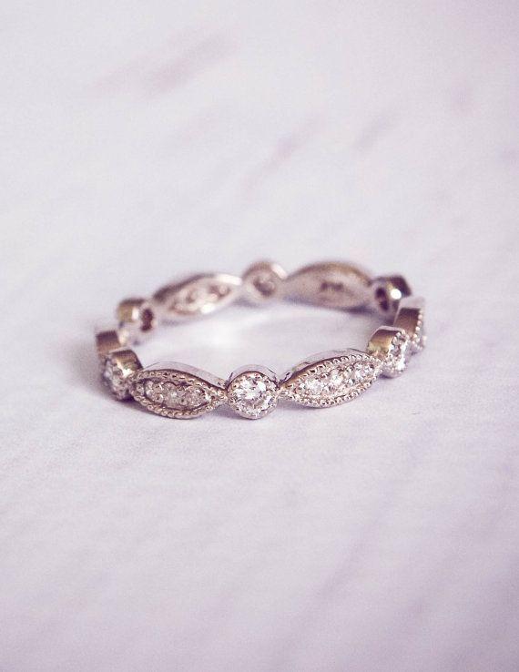 1930's Style Diamond Pave Wedding Band Ring by TemsahJewelers