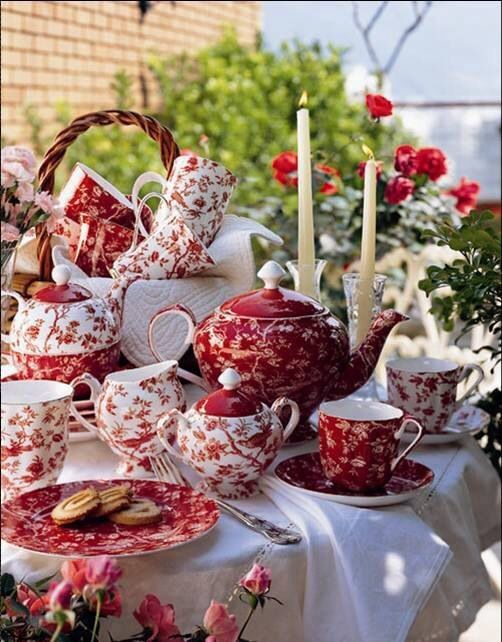 Red and white chintz dishes...
