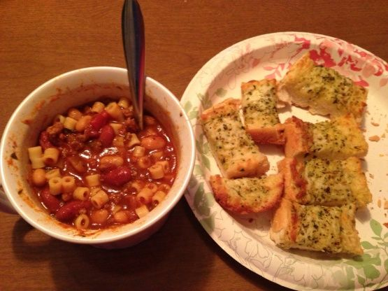 We like to eat at Olive Garden because of their lunch menu of soup, salad, Bread sticks.  I found a recipe on Internet for Olive Garden E. Fagioli Soup in a Crock Pot.  It was delicious tonight.