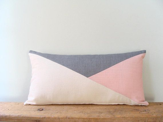 Blush Pink Lumbar Pillow/Rose Quartz/off by madebyzigzag on Etsy
