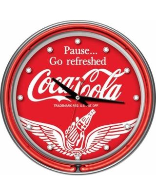 Trademark Global Clocks 14 in. Coca-Cola Wings Neon Wall Clock Multi coke-1400-v16