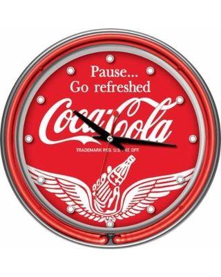 Trademark Global Clocks 14 in. Coca-Cola Wings Neon Wall Clock Multi coke-1400-v16