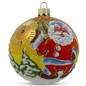Santa Awaits New Year Hand Blown Glass Ball Christmas Ornament Holiday Gift Idea