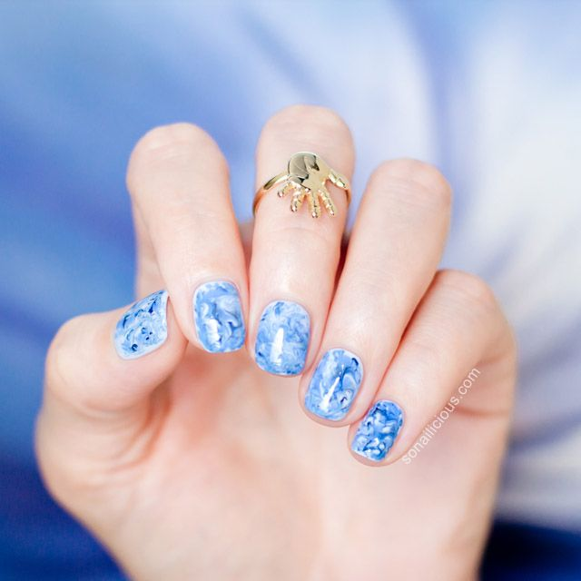 Marble Nail Art Blue: Foil Drag Marble Nail Art How To