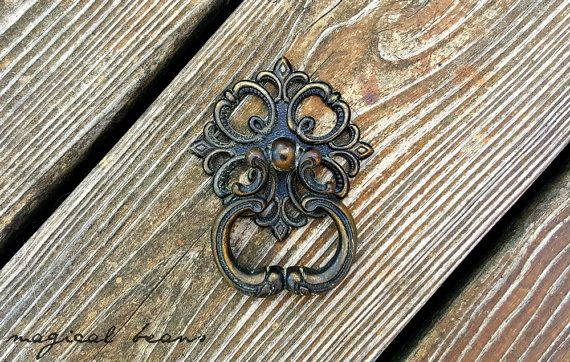 Brass Drawer Pulls Vintage Drawer Pulls Cabinet Pulls Rosette Drop Pulls Black & Gold Drawer Pulls Victorian Dresser Pulls French Country