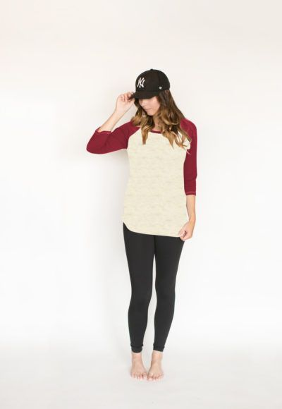 *pre-sale* Baseball tee – pompeii/heather almond – ships in 2 to 4 weeks  $55.00    We at Buttercream Clothing have been searching for the perfect baseball tee and couldn't find one anywhere so we decided to make one and make it better than any you have tried before! This fit is so amazing you will probably wear this right from spin to drinks with the girls and maybe even to bed! Made out of soft bamboo/cotton fabric.