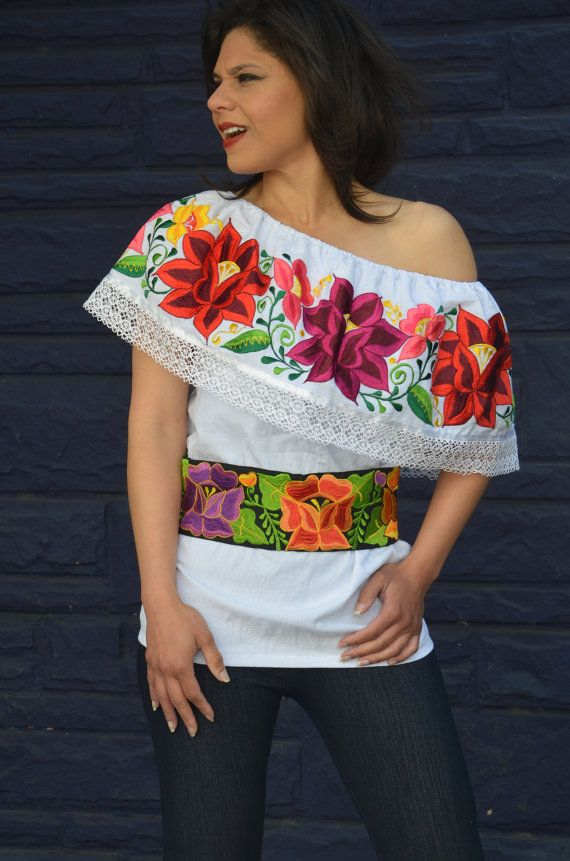 XLLMS Mexican Off Shoulder Peasant Top Blouse por Vtgantiques