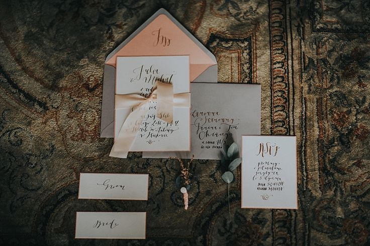 romantic invitation set by HELLO calligraphy