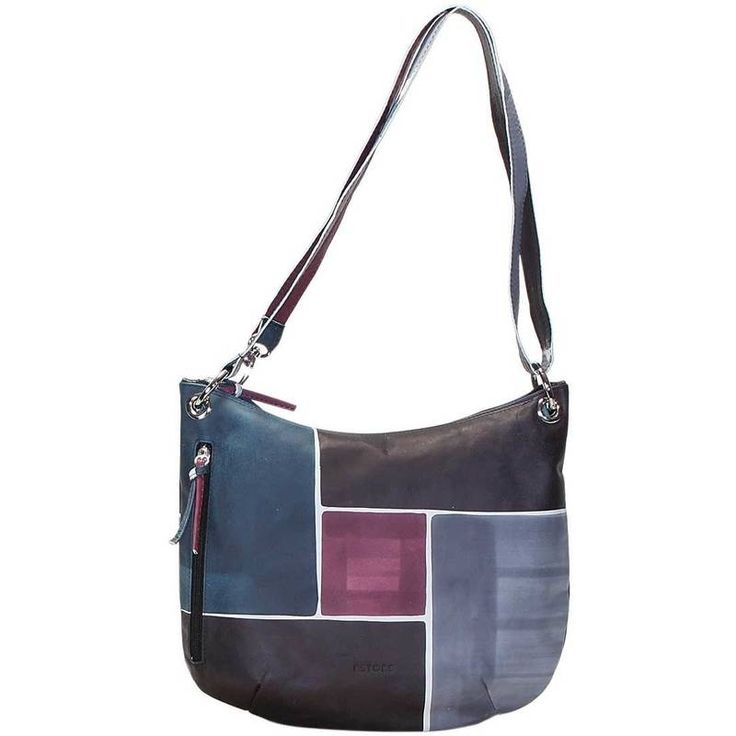 Natural leather handbag, handpainted. You can wear it also as across body bag thanks to its adjustable shoulder strap. With outside and inside pocket and lining inside. All Acquerello handbags can be purchased with matching shoes, wallet, belt and other accessories. Colors black, violet, blue and light blue and branch geometrical.