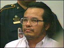 "Angel Maturino Resendiz, 45, was executed by lethal injection on 27 June 2006 in the Huntsville, Tx prison.  He was dubbed the ""Railroad Killer"" because all of his killings occurred near the railroad tracks that he used to traverse the country. The railroad killer beat most of his victims to death.  Resendiz confessed to and/or was charged with over a dozen murders."