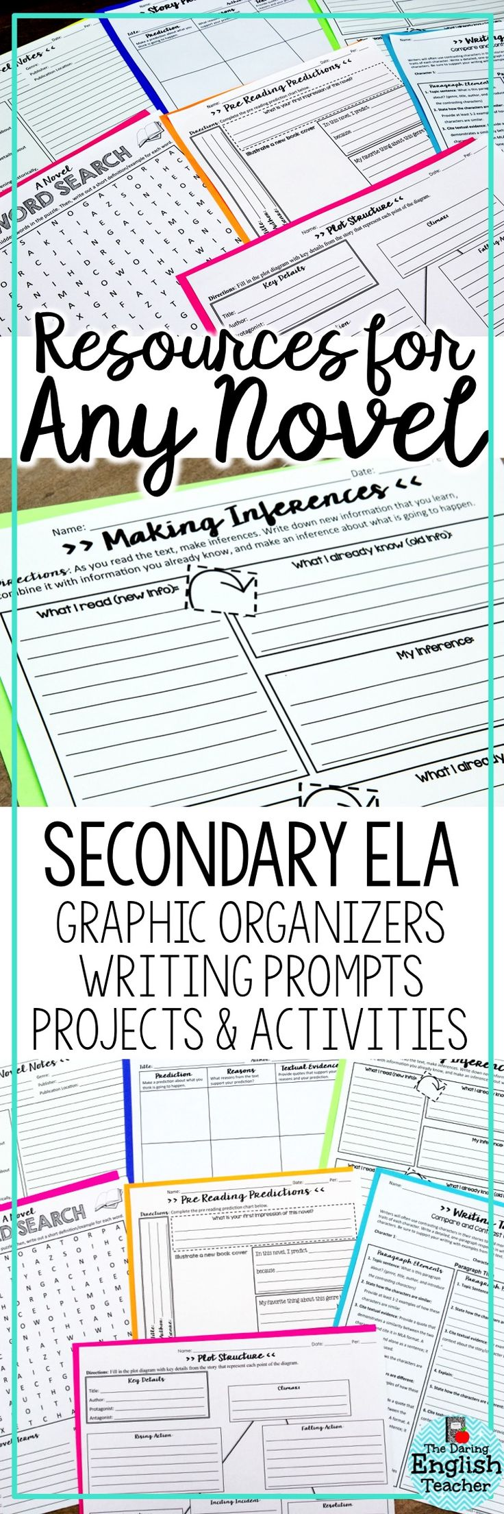 Ideal for any novel, literature circle, or independent reading, this resource pack includes graphic organizers, writing prompts, projects, and activities that can be used with any novel. Ideal for middle school and high school English language arts.