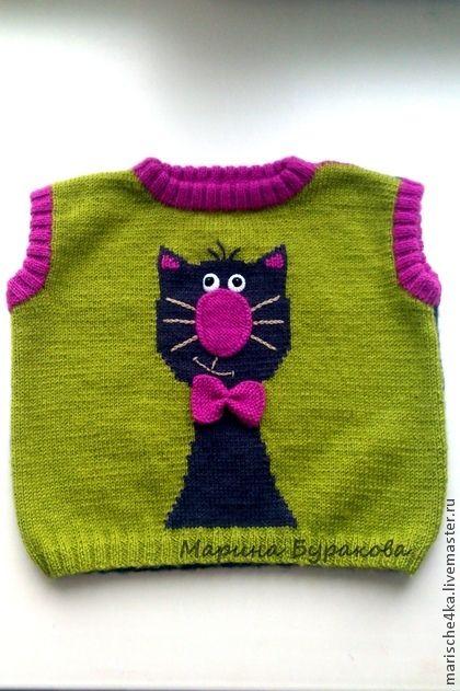 """Безрукавка """"Котик"""" - рисунок,оливковый,безрукавка вязаная,безрукавка детская"""