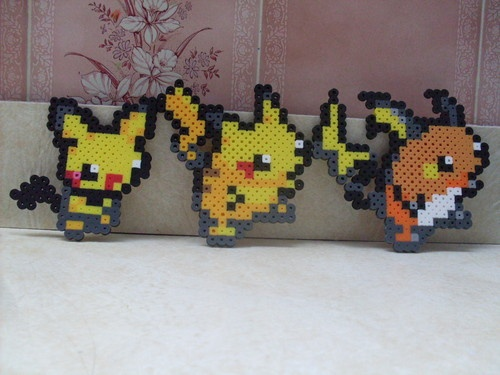 Pokemon PICHU, PIKACHU, RAICHU Perler Bead Art -- Choose your Pokemon & Style