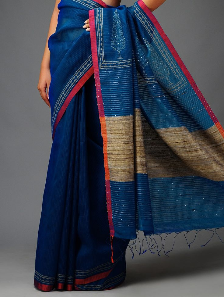 Blue-Red Mukaish Tussar-Silk Saree-Total love