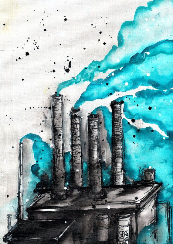 8x12 ink painting canvas roll - abstract industrial art - turquoise smoke factory