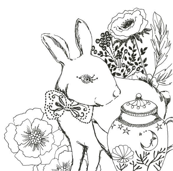 #line #animal #frame #枠 #動物 #広告 #花 #flower #デザイン #お洒落 #可愛い #線画 #コラージュ #collage #illustration #kanakobayashi #art #illust #うさぎ #usagi