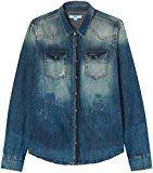 FIND Camisa Vaquera con Reparaciones Rohan para Hombre, Azul (Simeto Wash), Large
