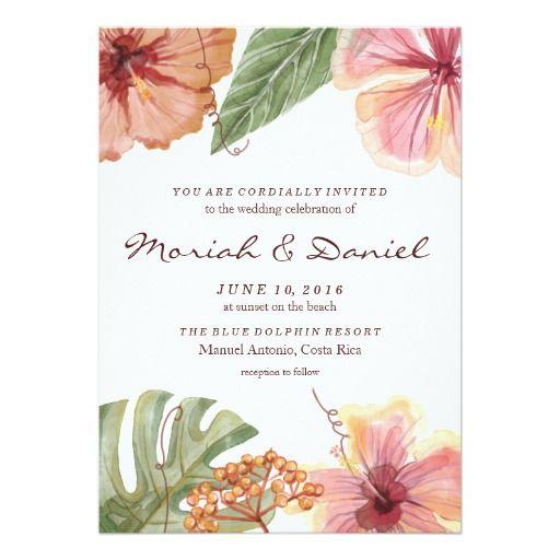 Tropical Watercolor Destination Wedding Invitation