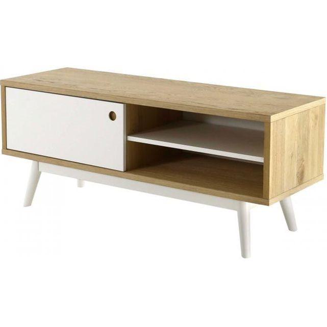 Un meuble TV typiquement scandinave Si vous êtes à la recherche d'un meuble TV tendance et original, choisissez leMeuble TV Scandinave 1 Porte Blanc WESLEY et ajoutez à votre séjour une touche scandinave. - Matière : Contreplaqué (Porte), Bois- Couleur : Blanc (Porte), Chêne- Dimensions : L.120x P.40 x H.50 cm- Poids : 26 kg