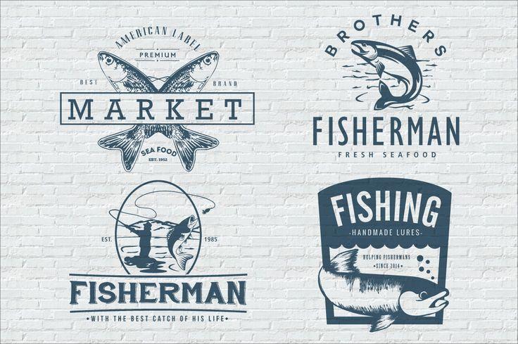 Fishing Vintage Badges Logos Template #design Download: https://creativemarket.com/lovepower/101071-Fishing-Vintage-Badges-Logos?u=ksioks