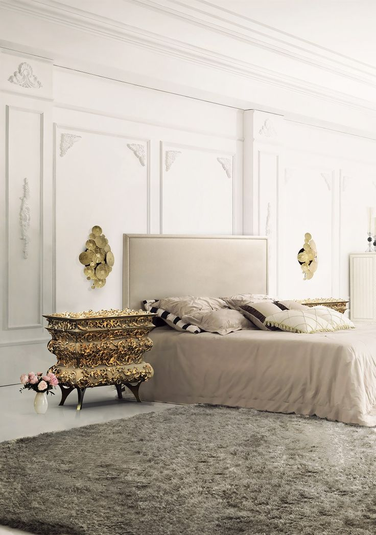 The inspiration in the most traditional techniques is very present on @bocadolobo designs and it's the main reason why the furniture pieces can create impressive and very glamourous room designs. This master bedroom with Crochet Nightstand is so glamourous, don't you think? The nightstand really gives it a fancy touch to this bedroom.  #homedecorideas #interiordesign #bedroom